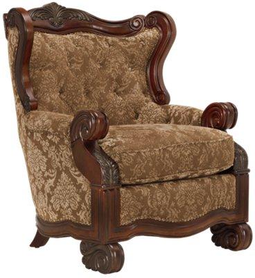 Regal Dark Tone Fabric Accent Chair