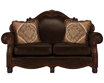 Regal Dark Tone Leather Loveseat