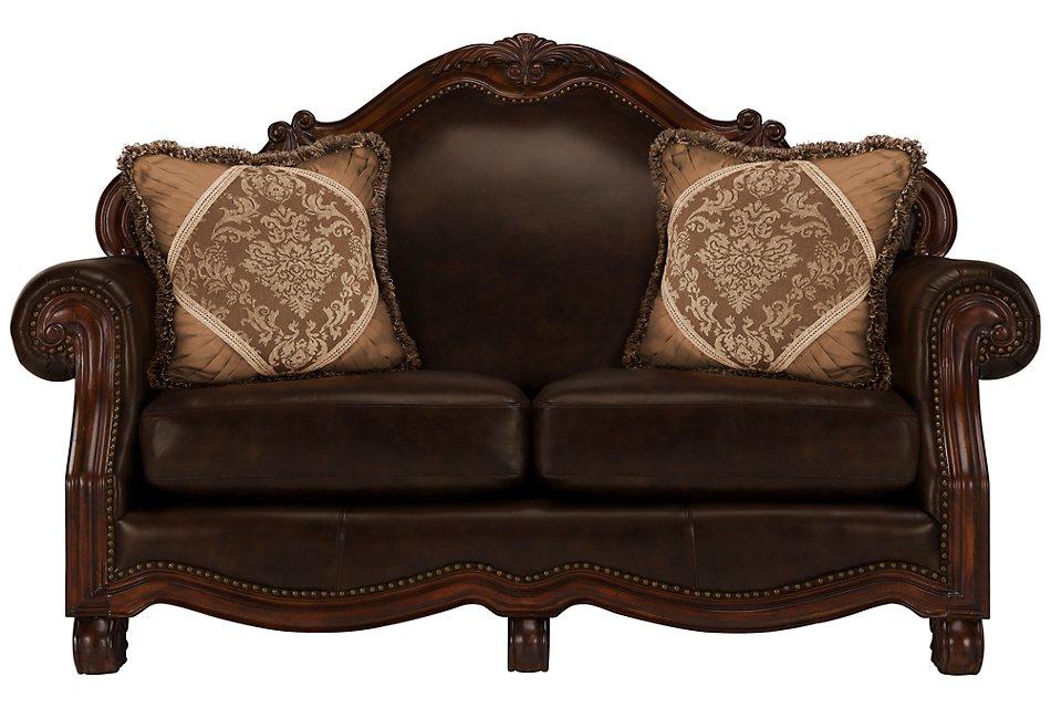 Regal Dark Tone Leather Loveseat