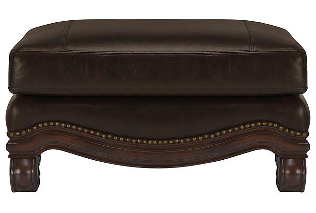 Regal Dark Tone Leather Ottoman