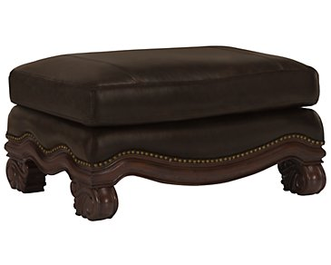 Regal Dark Tone Leather Ottoman
