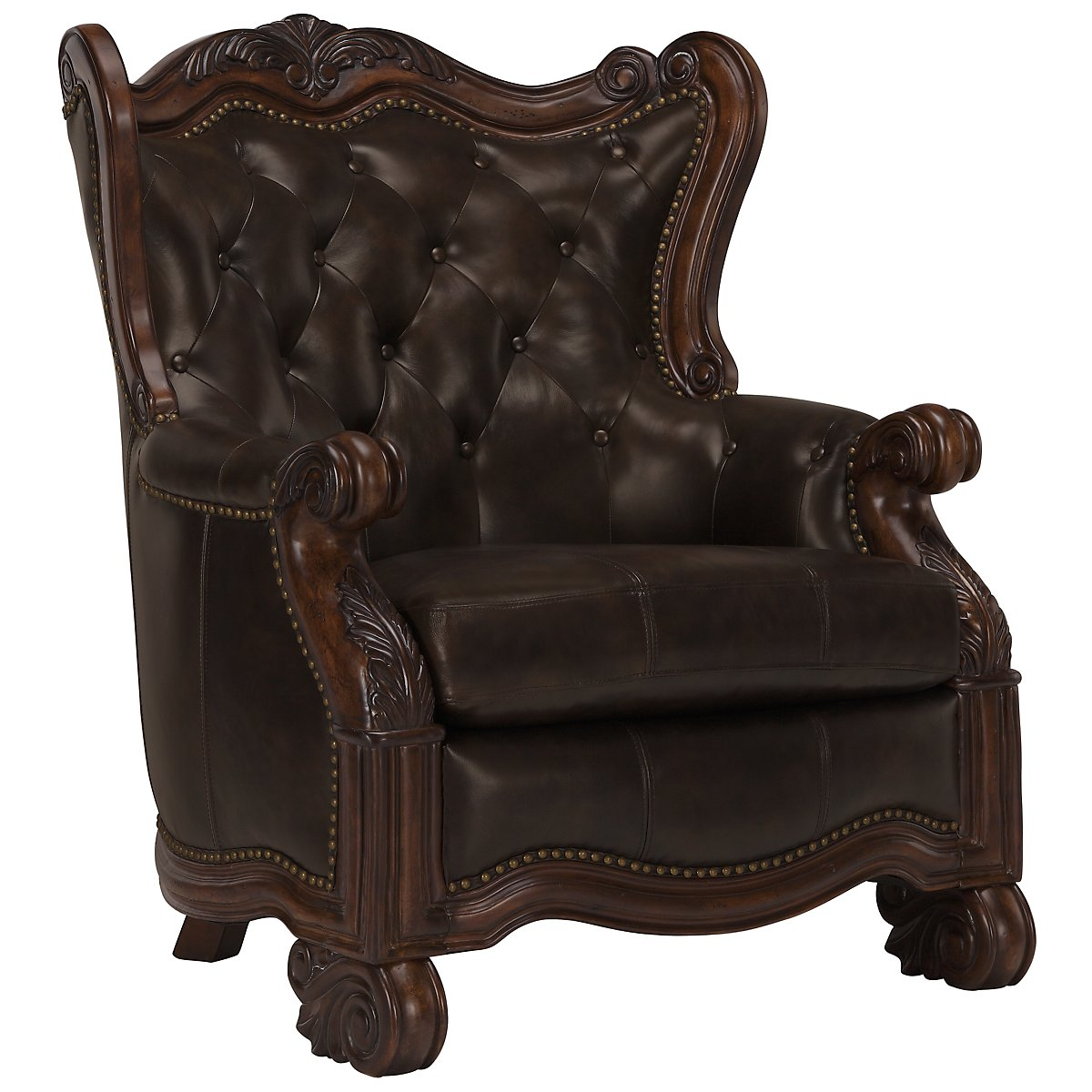 Traditional accent chairs - Regal Dark Tone Leather Accent Chair