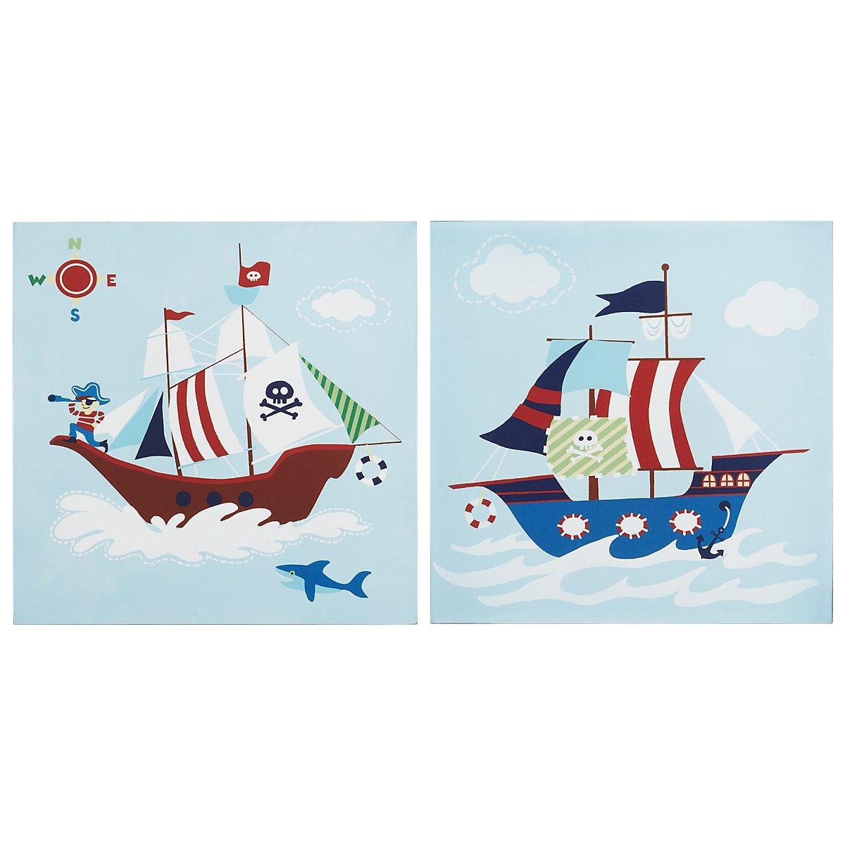 Ahoy Multicolored Set Of 2 Wood Wall Art