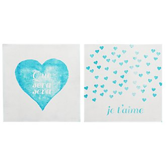 Que Sera Teal Set Of 2 Canvas Wall Art