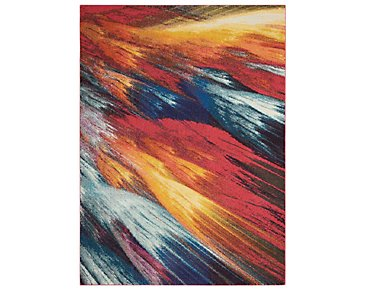 Burst Multicolored 8X11 Area Rug
