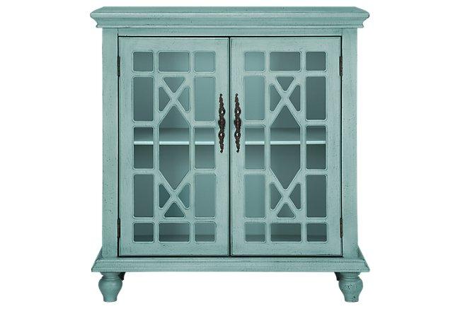 Alexis Teal Wood Two-Door Cabinet