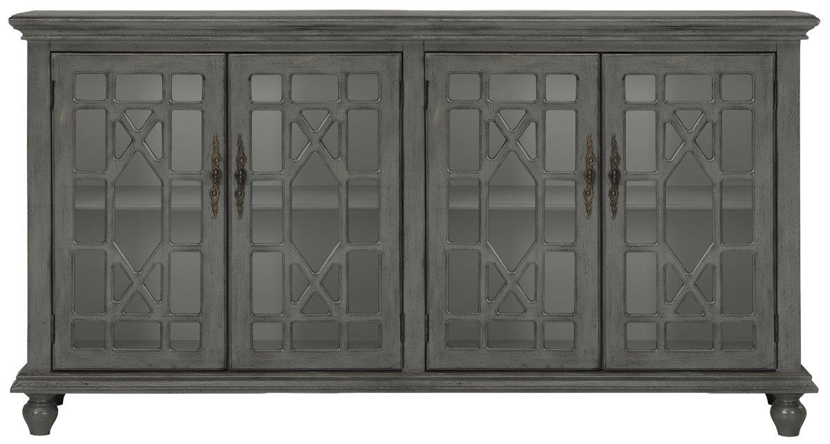 Alexis Gray Wood Four-Door Cabinet