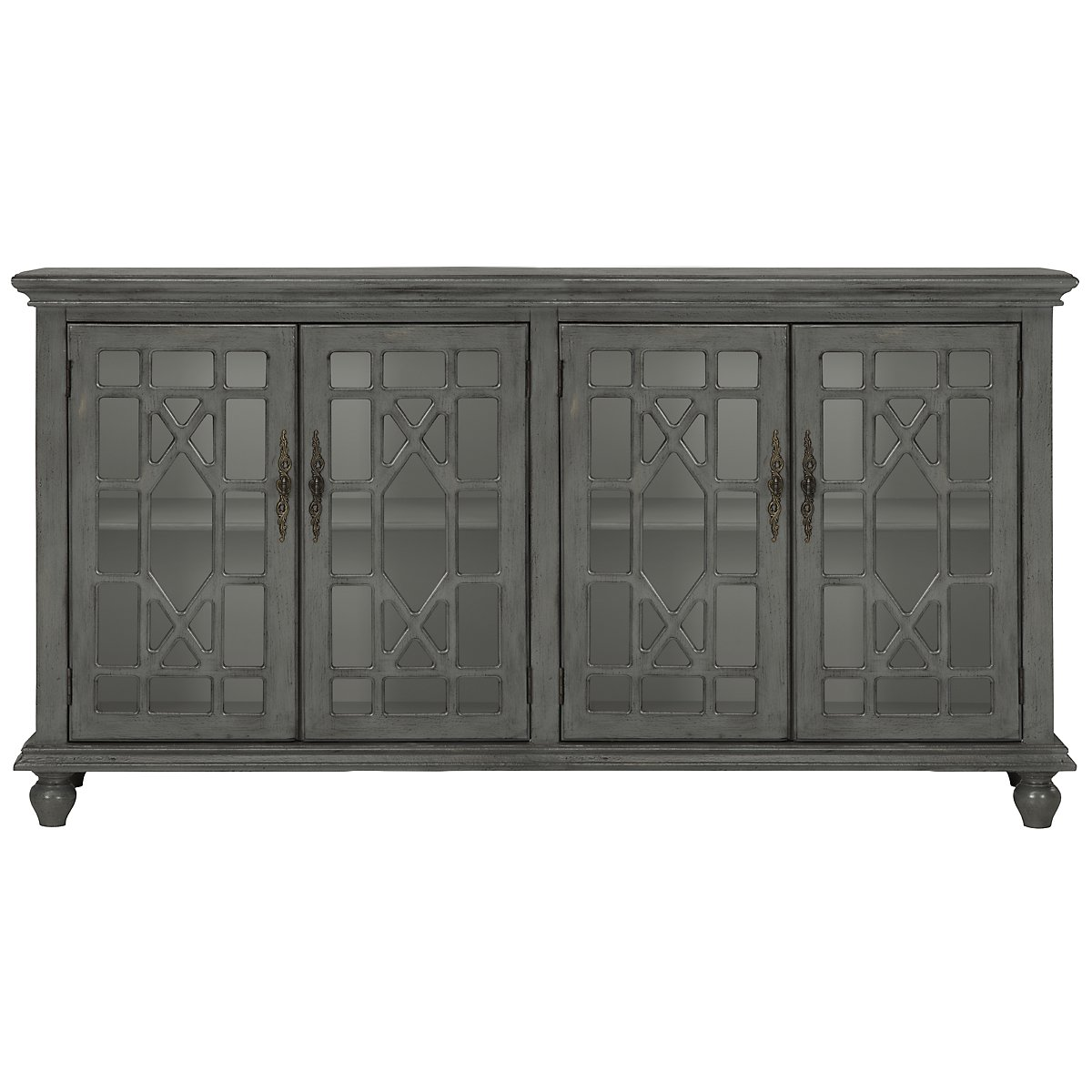 Alexis Gray Wood Four-Door Cabinet