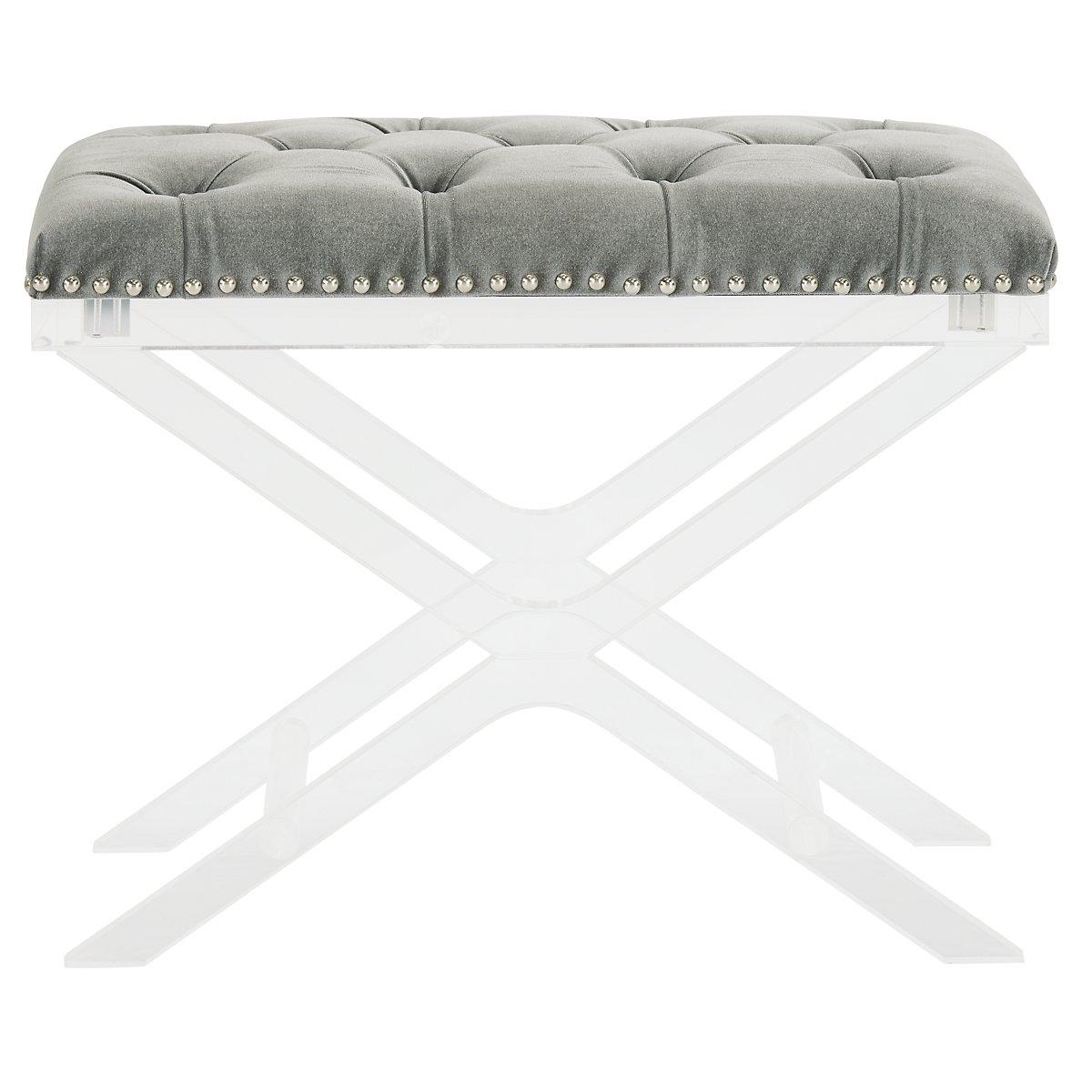 Allura Gray Fabric Bench