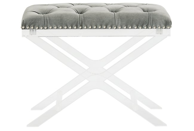 Allura Gray Fabric Bench