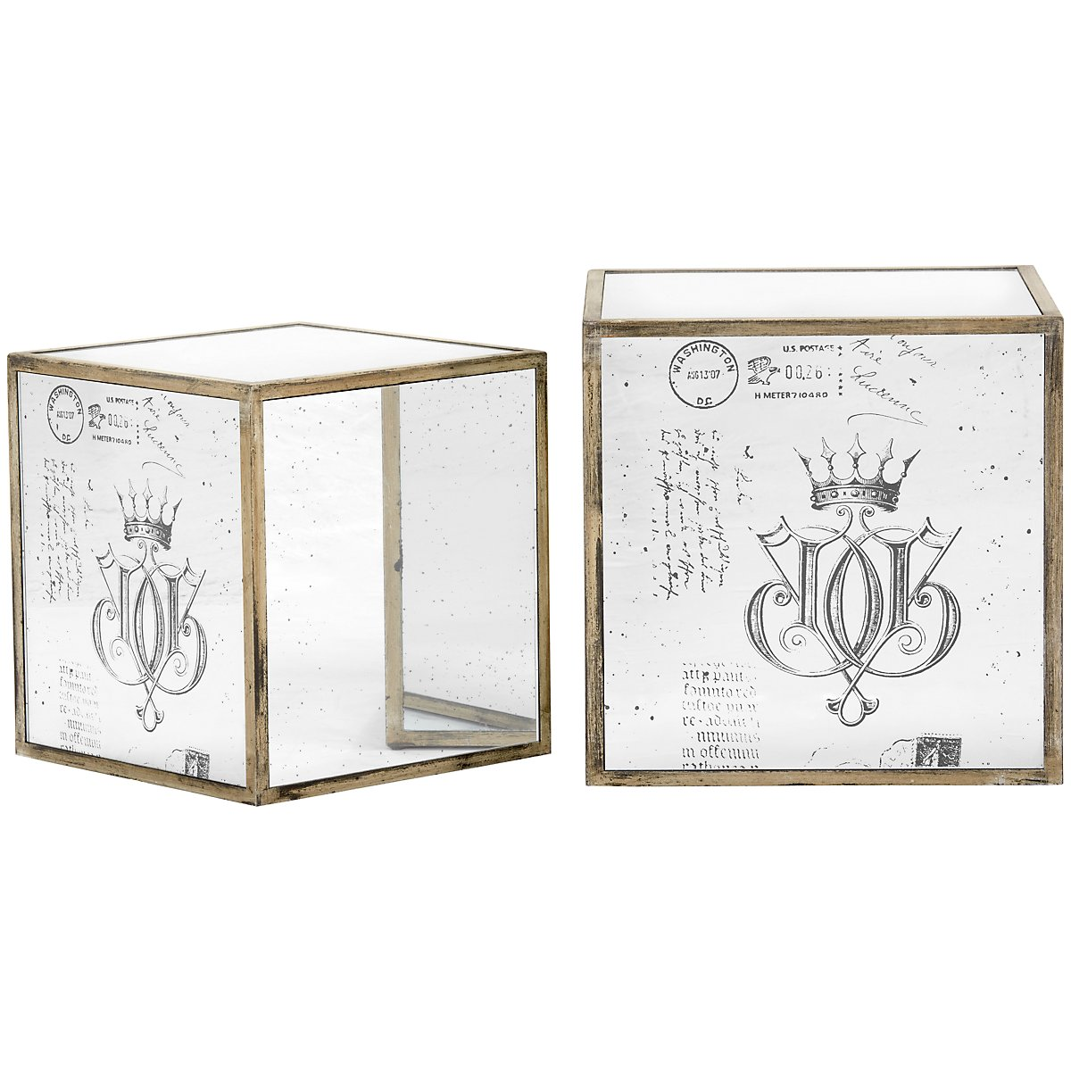 Box Mirrored Set Of 2 Accent Table