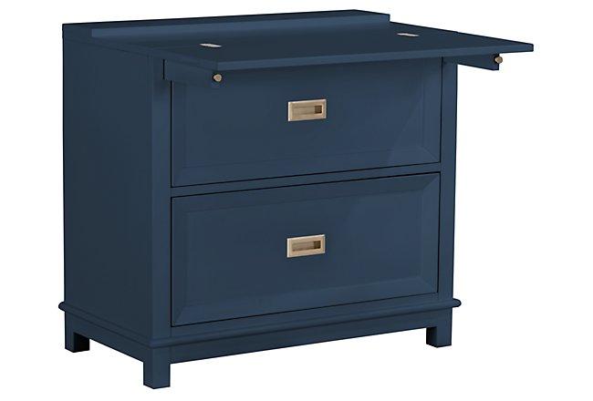 Ryder Dark Blue Wood Flip-top Nightstand