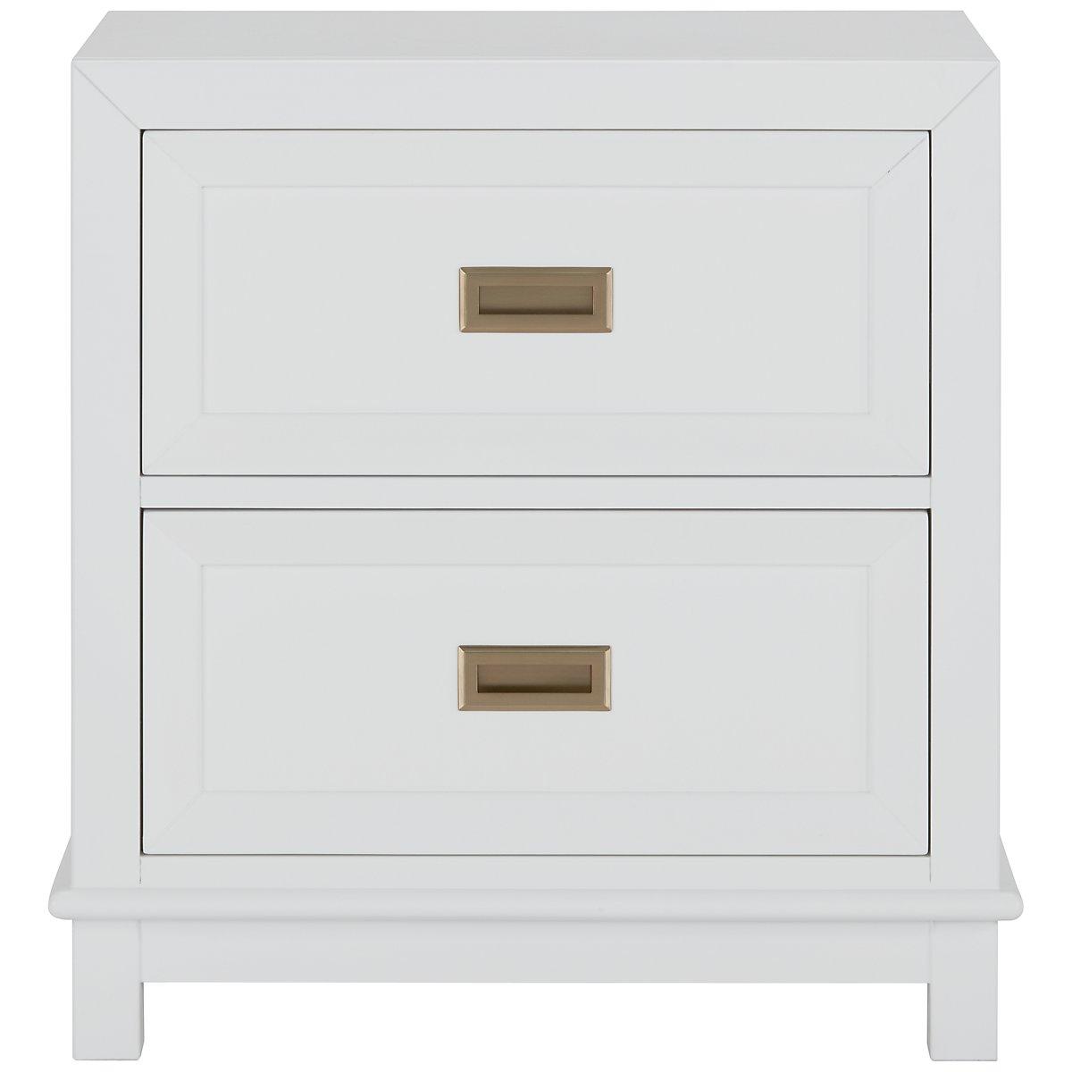 Ryder White Wood 2-drawer Nightstand