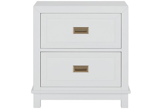 Ryder White Wood 2-drawer Nightstand