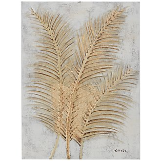 Feathers Gold Canvas Wall Art