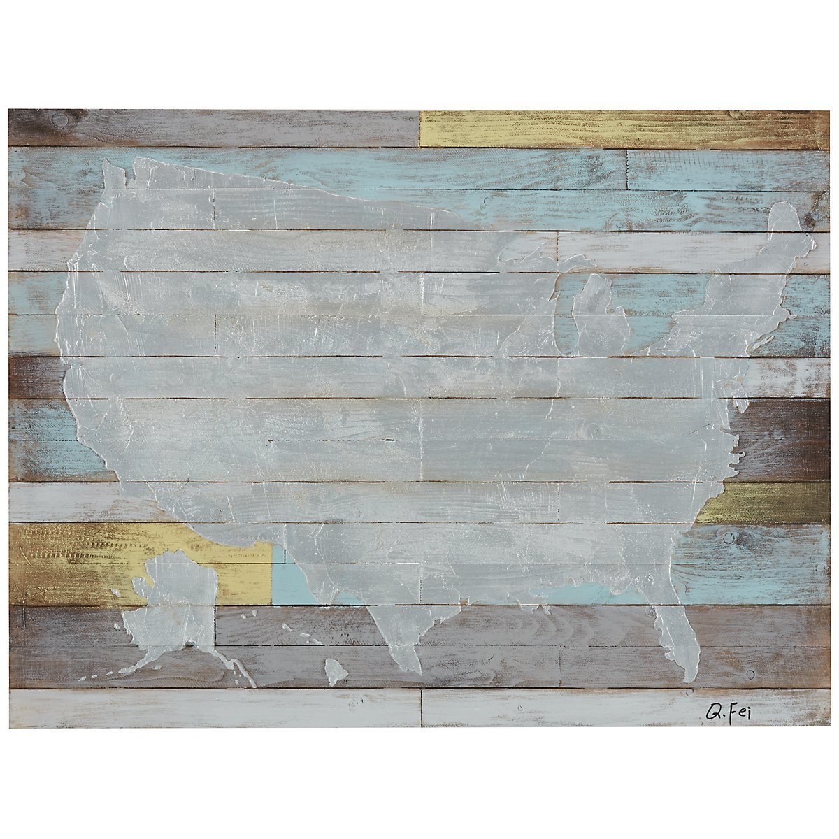 States Light Blue Wood Wall Art