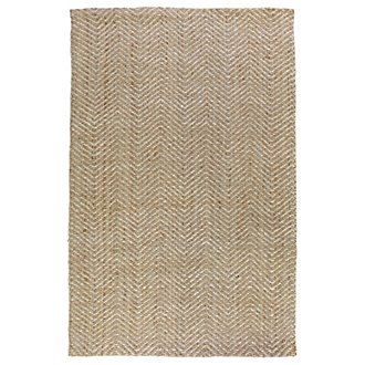 Herringbone White 5X8 Area Rug