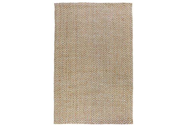 Herringbone White Jute 5x8 Area Rug