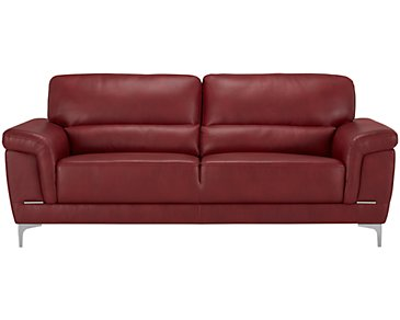 Enzo Red Microfiber Sofa