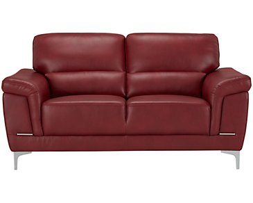 Enzo Red Microfiber Loveseat