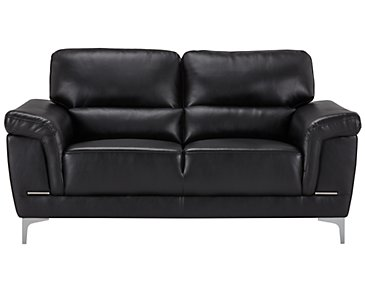 Enzo Black Microfiber Loveseat