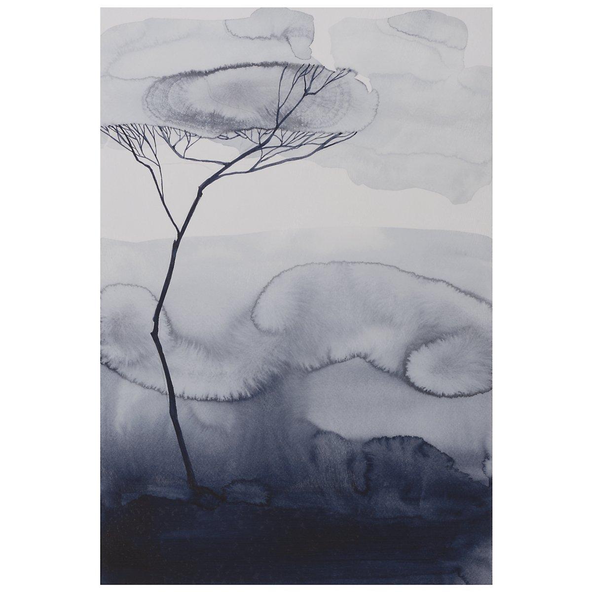 Root II Dark Blue Canvas Wall Art