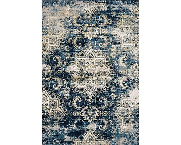 Torrance Dark Blue 5X8 Area Rug