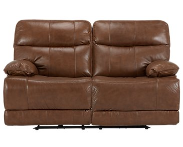 Liam Medium Brown Leather & Vinyl Reclining Loveseat