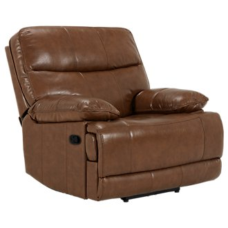 Liam Medium Brown Leather & Vinyl Recliner