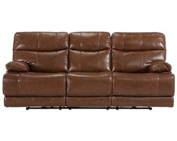 Liam Medium Brown Leather & Vinyl Power Reclining Sofa