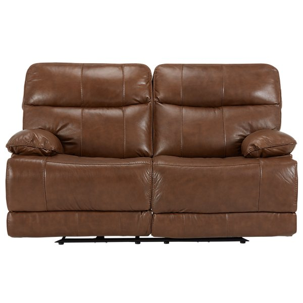 Image Of Liam Medium Brown Leather Vinyl Reclining Loveseat With Sku 4130172