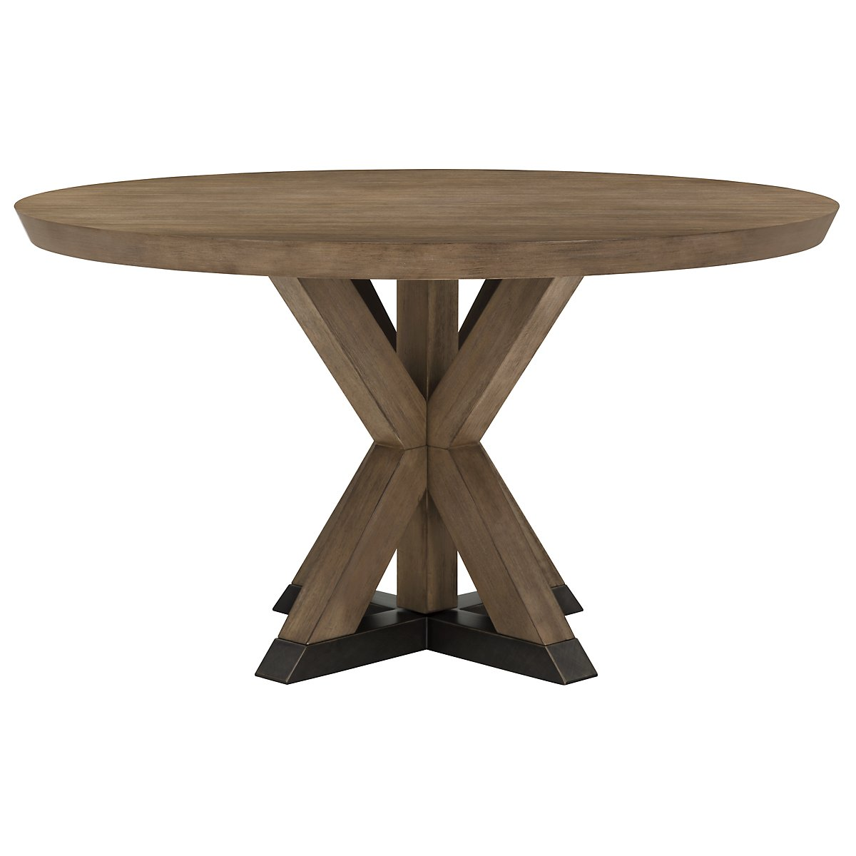 City furniture mirabelle light tone round table 4 wood for Wood round dining table for 4