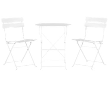 Roma White Round Table & 2 Chairs