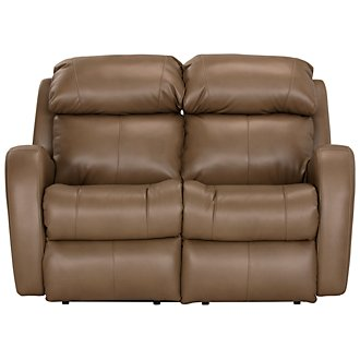 Finn Brown Microfiber Power Reclining Loveseat