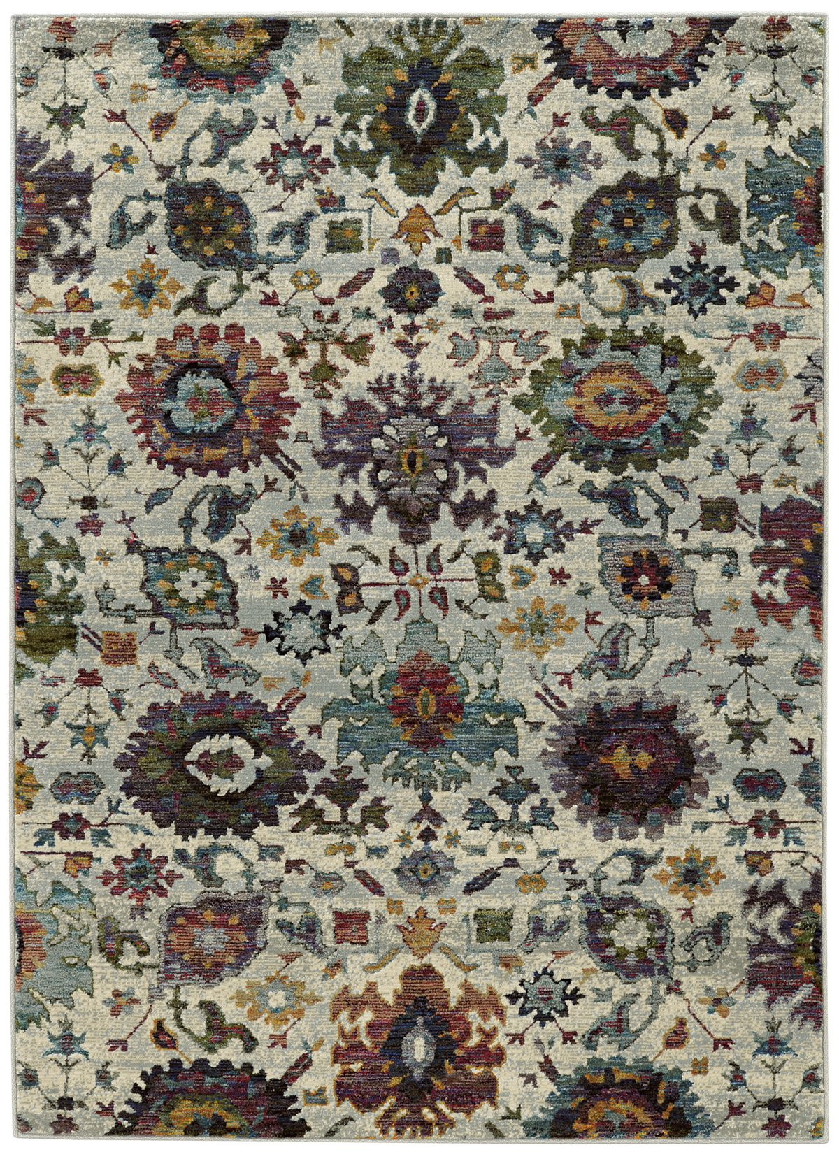Adrina Multicolored Poly Blend 5x8 Area Rug