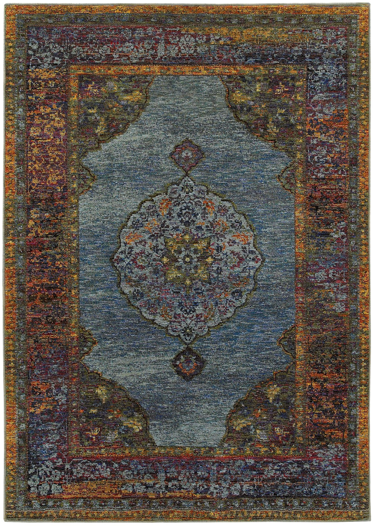 Andra Multicolored Poly Blend 8x11 Area Rug