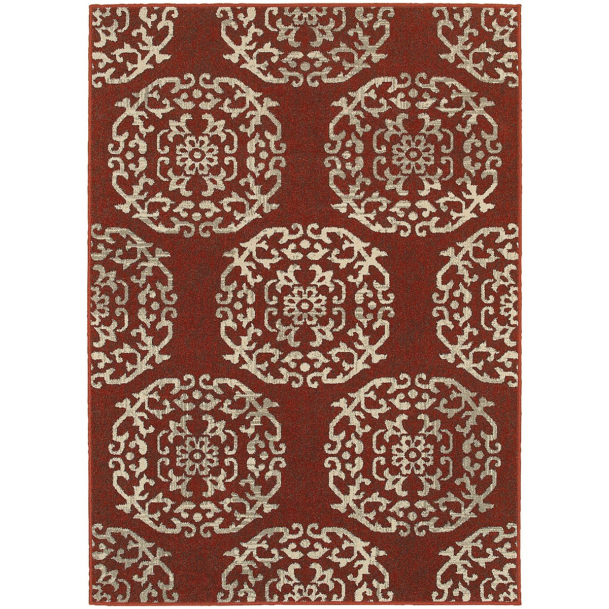 Highlands Red Poly 5x8 Area Rug