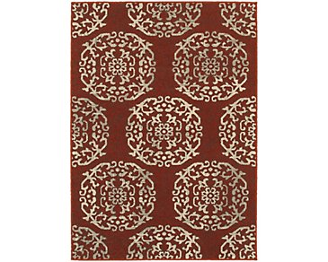Highlands Red 5X8 Area Rug