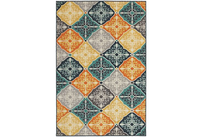 Hammel Multicolored Poly Indoor/Outdoor 8x11 Area Rug