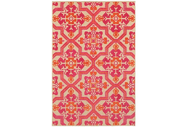 Cayman Pink Poly Indoor/Outdoor 5x8 Area Rug