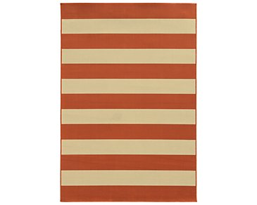 Riviera Dark Orange Indoor/Outdoor 8x11 Area Rug