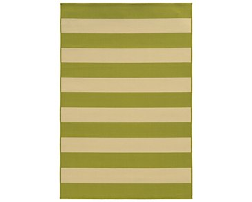 Riviera Green Indoor/Outdoor 5x8 Area Rug