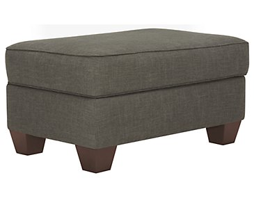 York Dark Gray Fabric Ottoman