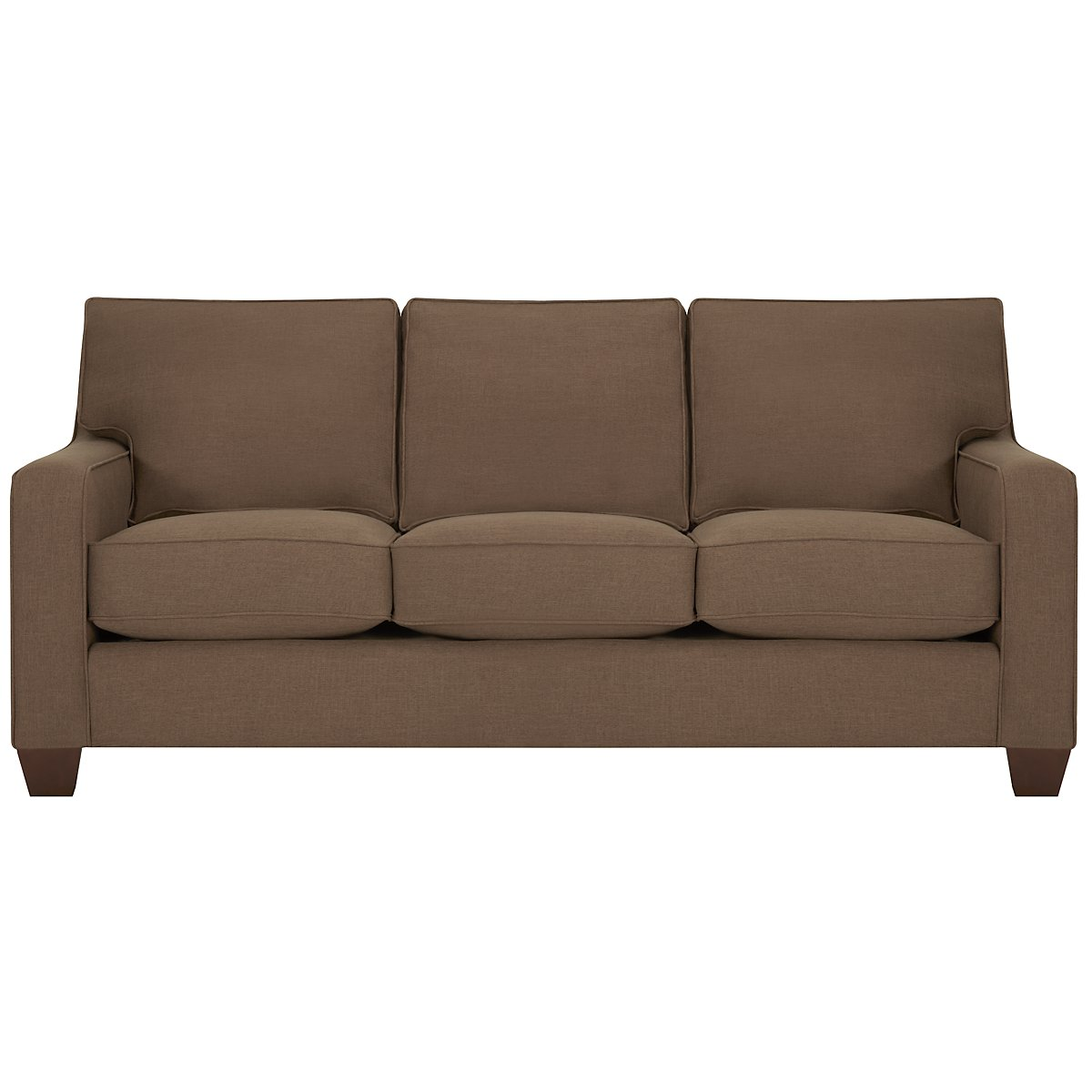 City furniture york dk brown fabric sofa for Brown fabric couch
