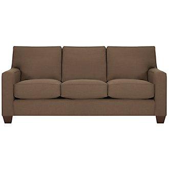 York Dark Brown Fabric Sofa