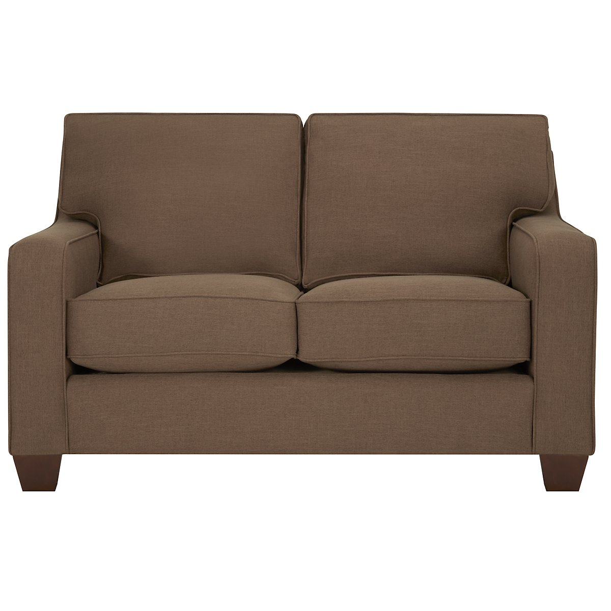 York Dark Brown Fabric Loveseat