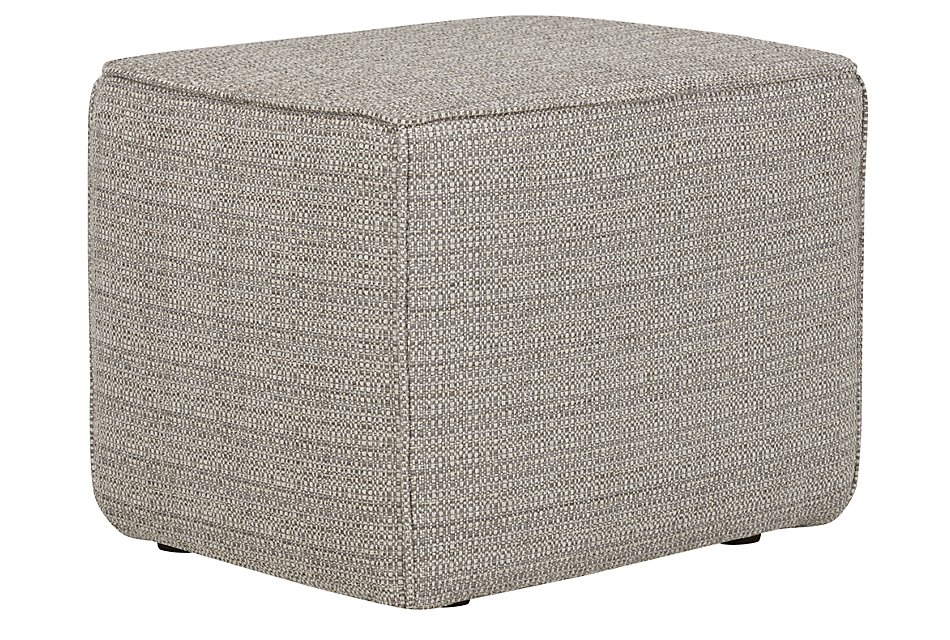 Jackie Gray Fabric Accent Pouf