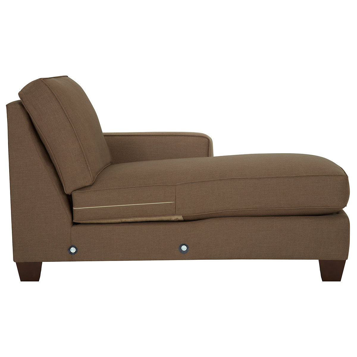 City furniture york dk brown fabric small right chaise for Brown sectional with chaise