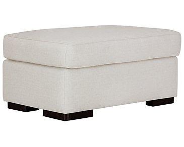 Austin White Fabric Ottoman