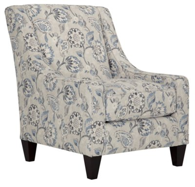 Merveilleux Sylvie Blue Floral Accent Chair